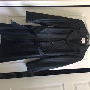 Worthington Black Leather Trench Coat